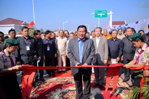 In the morning of 13 February 2017 Samdech Techo Hun Sen cuts the red ribbon to inaugurate the Cambodia-China Friendship Koh Thom bridge in Koh Thom districts, Kandal province.