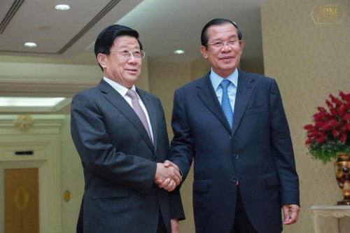 n the afternoon of 11 May 2018, Samdech Techo Hun Sen receives visiting H.E. Zhao Ke Zhi, Minister of Public Security of the People's Republic of China, for a talk at the Peace Palace, Phnom Penh.