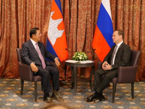 On 18 October 2018, Samdech Techo Hun Sen holds a bilateral talk with H.E. Dmitry Medvedev, Prime Minister of Russia in Brussels, Belgium, on the sidelines of the 12th ASEM Summit.