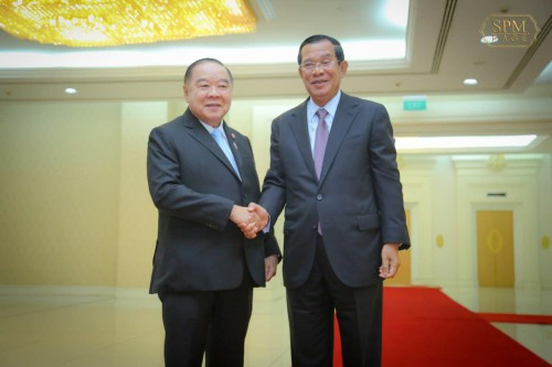 In the morning of 14 February 2019, Samdech Techo Hun Sen holds talks with visiting H.E. General Prawit Wongsuwan, Minister of Defence of Thailand at the Peace Palace in Phnom Penh.