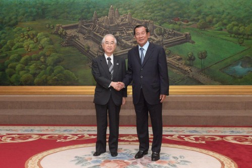 In the morning of 12 March 2019, Samdech Techo Hun Sen receives visiting H.E Norio Yamaguchi, Vice Chairman of International Friendship Exchange Council (FEC) for talks at the Peace Palace in Phnom Penh.