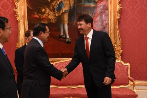 In the morning of 14 June 2019, Samdech Techo Hun Sen holds talks with H.E. Janos Ader, President of Hungary.