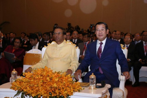 In the afternoon of 7 August 2019, Samdech Techo Hun Sen and visiting H.E Maithripala Sirisena, President of Sri Lanka, co-chair the Cambodia-Sri Lanka Business Forum, at the Sofitel Phnom Penh Hotel.