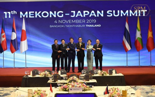 In the afternoon of 4 November 2019, Samdech Techo Hun Sen attends the 11th Mekong-Japan with the presence of H.E. Japanese Prime Minister Shinzo Abe, in Bangkok, Thailand.
