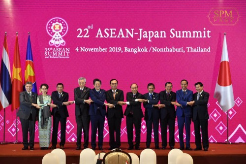 In the afternoon of 4 November 2019, Samdech Techo Hun Sen attends the 22nd ASEAN-Japan Summit in Bangkok, Thailand.