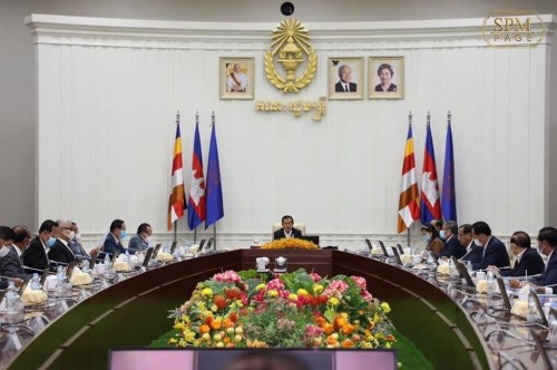 In the morning of 15 May, 2020, Samdech Techo Hun Sen chairs a plenary Cabinet meeting at the Peace Palace, in Phnom Penh.