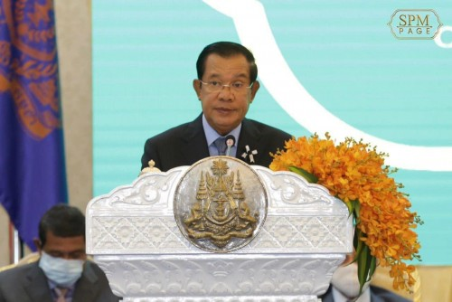 """In the morning of 24 June 2020, Samdech Techo Hun Sen presides over the launching of the """"Cash Transfer Program for Poor and Vulnerable Households during COVID-19"""", at the Peace Palace."""