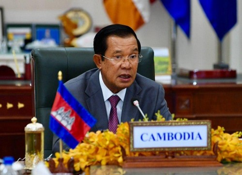 At the night of 7 October 2020, Samdech Techo Hun Sen delivers his keynote address at the virtual Climate Vulnerable Forum Leaders' Event held on the margin of the 75th Session of the United Nations General Assembly.